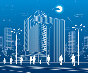 Business Center, urban architecture. People walking at city street. Vector design art