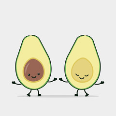 Funny avocado couple holding hands.