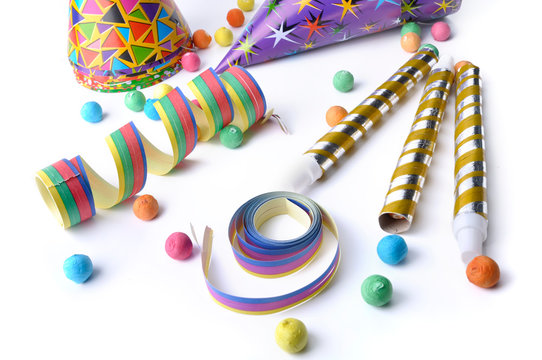 colorful cotillons for party on white background