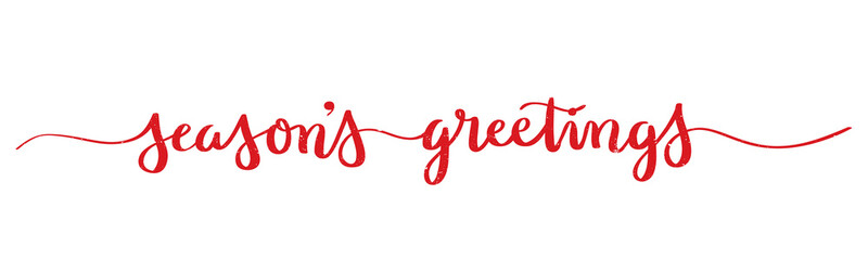 SEASON'S GREETINGS wide brush calligraphy banner