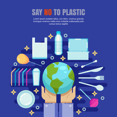 Plastic garbage pollution concept. Say No to plastic vector illustration. Ecology environmental banner, poster design