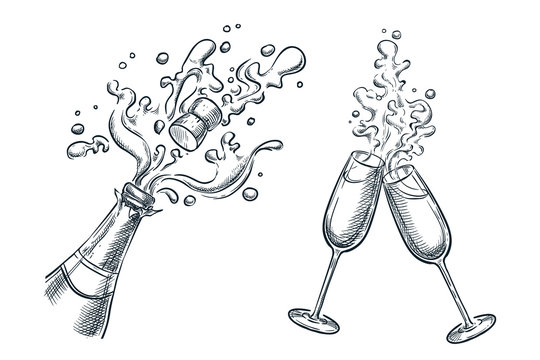 Explosion champagne bottle and two glasses with splash drinks. Sketch vector illustration. Holiday design elements