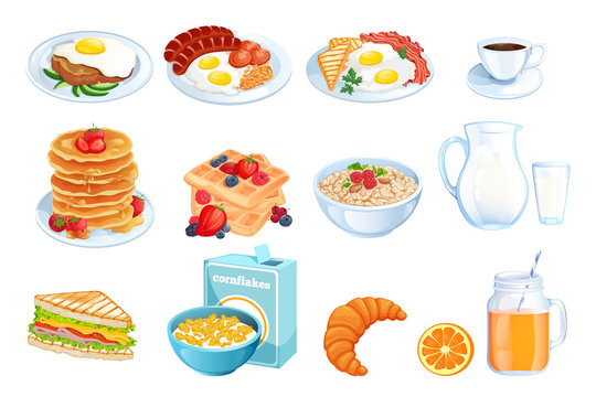 Cooking breakfast, vector illustration. Set of isolated morning meal dishes. Restaurant or cafe menu design elements.