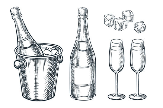 Champagne bottle in bucket with ice and two glasses. Vector sketch illustration. Holiday celebration design elements.