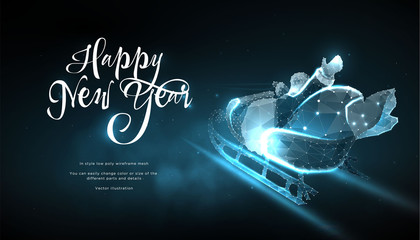 Happy New Year 2019. Santa Claus in sleigh in style Low poly wireframe on blue background. Banner or postcard. Effect Starry sky. Illustration with connected dots and lines. 3D vector wireframe mesh