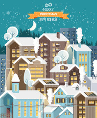 Christmas snow town with city roads, cars and cute houses. Happy New Year vector template in modern flat design.
