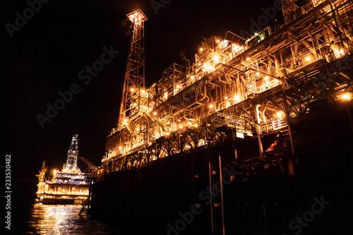FPSO tanker vessel near Oil platform Rig  Offshore oil and