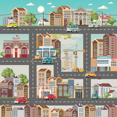 Town template with roads, cars and cute houses. Industrial background. Day in the cute city.