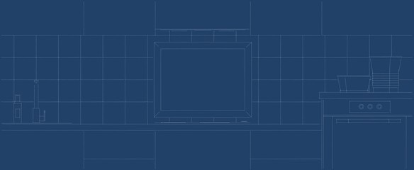 Blueprint of a frame in a kitchen flat mock-up design.