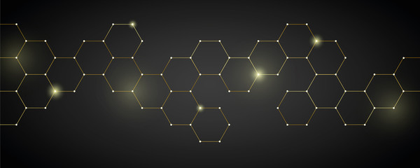 gold technical honeycomb background digital electronics vector illustration EPS10