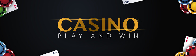 Casino banner with casino chips and cards. Poker club texas holdem. Vector illustration.