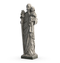 3D illustration of statue of Old Jesus and Baby Jesus on white background.