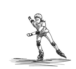 Sketch of teenage girl on rollers speed skating, Isolated on white background, Hand drawn vector illustration with hatched shades
