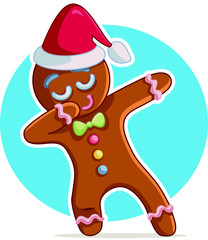 Funny Dabbing Gingerbread Man Vector Cartoon