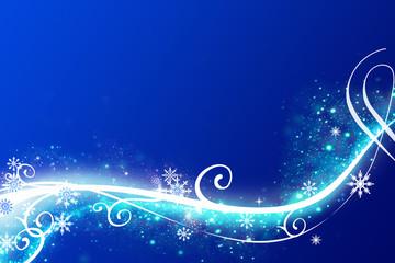 Abstrakter blauer Winter Hintergrund mit vielen Schneeflocken, Glitter und Sternen.