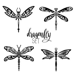 Set of dragonflies for tattoo