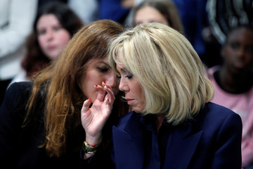 Brigitte Macron, wife of French President, and Marlene Schiappa, French Junior Minister for Gender Equality, visit a high school to discuss the fight against school bullying in Clamart
