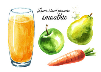 Lower Blood Pressure smoothie with Apple, pear and carrot set. Watercolor hand drawn illustration, isolated on white background