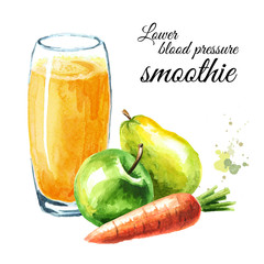 Lower Blood Pressure smoothie with Apple, pear and carrot. Watercolor hand drawn illustration, isolated on white background