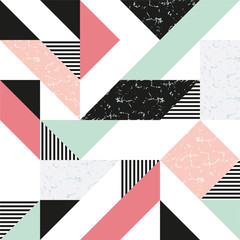 Modern background with marble texture and geometric shapes. Pattern of geometric colored shapes