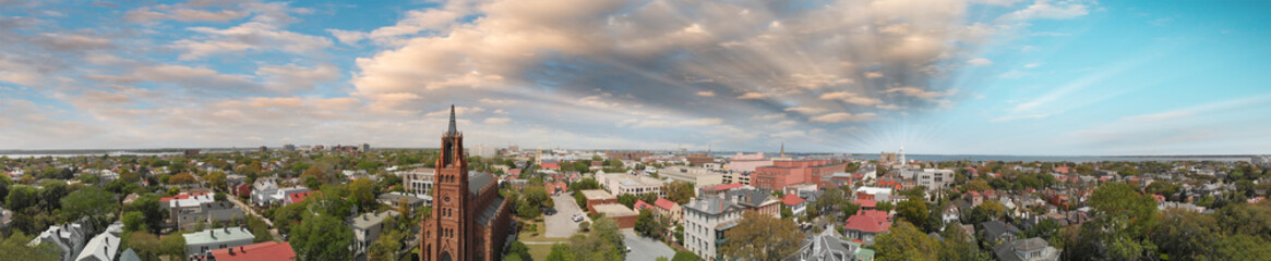 Panoramic aerial view of Savannah skyline at sunset, Georgia, USA