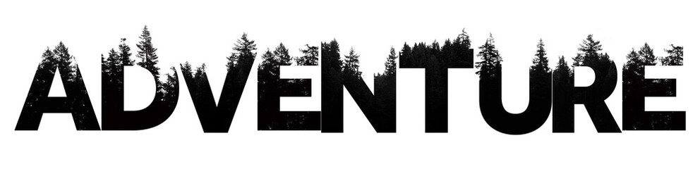 Adventure word made from outdoor wilderness treetop lettering Wall mural