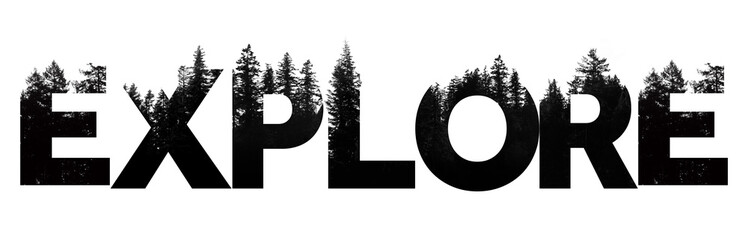 Explore word made from outdoor wilderness treetop lettering Wall mural