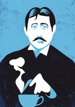 Marcel Proust vector illustration