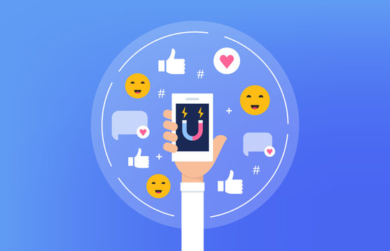 Social Media Influencer Concept Illustration. Person Holding Smartphone. Vector Flat Design