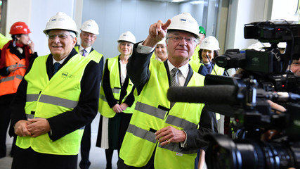 Italy's President Sergio Mattarella and King Carl Gustaf of Sweden inaugurate an ion cellar at the research institute ESS in Lund