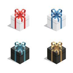 Isometric gift or present vector set with white and black colored boxes and colorful ribbons. 3d style gift box set isolated on white.