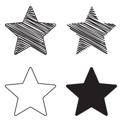 Zig-zag and scribble style star shape set isolated on white. Hand drawn looking star sketch vector.