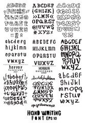 big set of  hand written lettering about  design poster, greeting card, photo album, banner, calligraphy vector illustration collection
