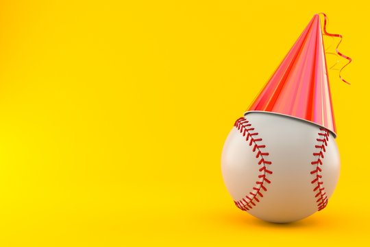 Baseball ball with party hat