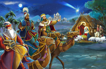 religious illustration three kings - and holy family - traditional scene - illustration for children