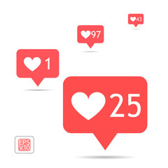 A set of icons counter notifications instagram. Follower. Icon set like 1, 25, 43, 97 insta symbol isolated on white. Social media likes insta ui, app, iphone. Vector. EPS 10.
