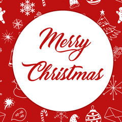 Seamless Christmas pattern white objects with red text Merry Christmas on redbackground