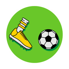 Vector flat illustration with icons of kick yellow soccer football ball and boot. Black outline. Green background.