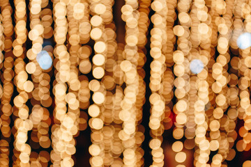 Yellow gold bokeh light abstract background