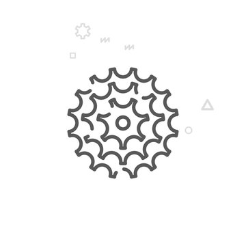 Bike Cassette, Gear Vector Line Icon, Symbol, Pictogram, Sign. Light Abstract Geometric Background. Editable Stroke