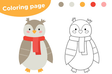 Coloring page for kids. Cute cartoon owl. Woodland animals. Owl to wear a scarf. Vector illustration