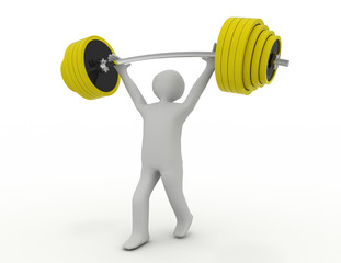 Weight-lifter lifts barbell on white . 3d rendered illustration