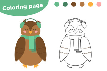 Coloring page for kids. Cute cartoon owl. Woodland animals. Owl to wear a winter clothes. Vector illustration