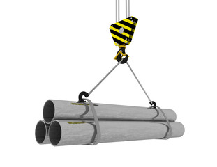 Crane hook with steel pipes 3D . 3d rendered ullustration