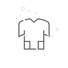 Bike Jersey, T-Shirt Vector Line Icon, Symbol, Pictogram, Sign. Light Abstract Geometric Background. Editable Stroke