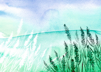 lavender watercolor illustration. Decorative paint background blossom flower for greeting cards, invitations. Purple,blue, green background. lavender flowers with watercolor splashes.Country landscape