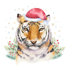 Wall Mural - Merry Christmas watercolor lettering with isolated cute cartoon watercolor fun Siberian tiger illustration. Hand drawing new year holiday greeting card.