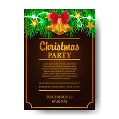 Christmas party template for invitation or announcement. ready for paper print. vector illustration of golden ribbon with garland decoration
