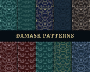 Damask Vector Seamless Pattern Collection. Vintage Style Wallpaper, Carpet or Wrapping Paper Design. Italian Medieval Floral Flourishes, Green Greek Flowers for Textures. Baroque Leaves