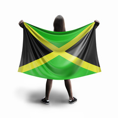 Women and Jamaican flag